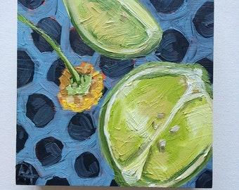 Original oil painting lime lemon flower