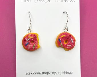 Polymer clay pink donut earrings