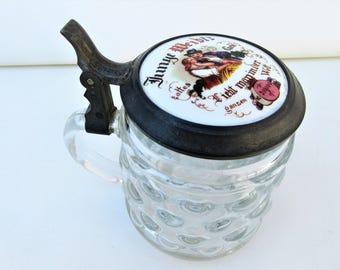 Vintage German Stein | Beer Stein with Lid | Beer Mug | Bubble Glass | German Barware | Beer Glass with Lid
