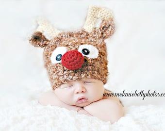 Newborn Baby Reindeer Hat, Holiday Hat, Made to Order