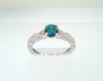 Fancy Blue Diamond Engagement Ring 0.55 Carat 14K White Gold Unique Vintage Antique Style Engraved Handmade Certified