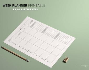 Week Planner Minimalist Organized to Do List Priority list Black and White printable week Business planner Weekly timetable week schedule