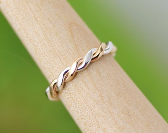 Flattened Twist Ring, Stacker Ring, Thumb Ring, Gold Filled Stackable Ring, Two Toned Ring, Stacked Ring, Stack Ring, Gift For Her