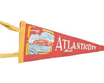 DISCOUNTED Vintage Atlantic City NJ Felt Flag Banner