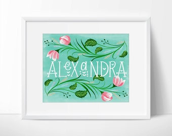 Custom Handwritten Name Floral Turquoise Blue Printable, Custom Name, Custom Name Art, Digital Name Art, Art Printable, Personalized Name.