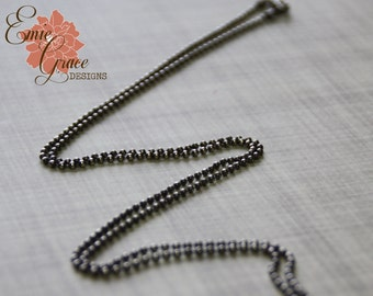 Sterling Silver 2mm Ball Chain, Oxidized, Rustic Necklace, Finished Necklace