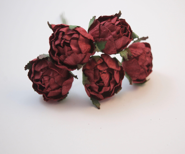 5 Pcs Crimson Maroon Paper Flowers Peony Paper Flowers Mulberry
