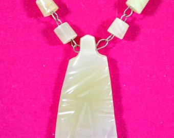 """Carved Mexican Marble 27"""" Beaded Pendant Necklace Textured Vintage White Quartz?"""