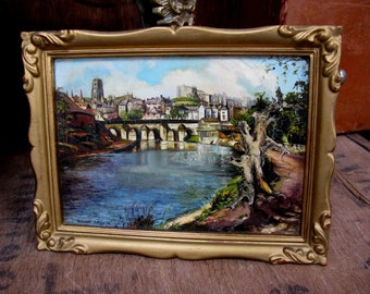 Durham Oil Painting, Oil Painting, Vintage Oil Painting, City Of Durham, Durham Cathedral, North East England, River Wear, Landscape Picture