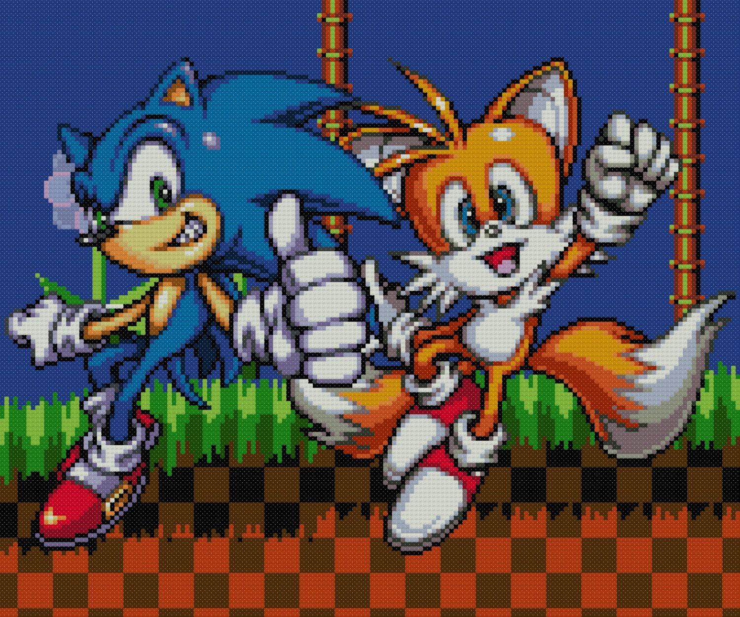 Sonic and Tails Cross Stitch Pattern