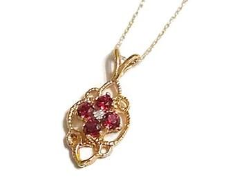 14K Gold Garnet and Diamond Necklace