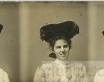 vintage photo 1911 Women Big Hats 3 Gem Miniature photo booth photobooth strip