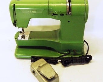 ELNA Supermatic Vintage Sewing Machine Swiss Made Green