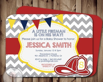 Fireman BABY SHOWER Invitation, Fire fighter shower, fireman, firemen, boy baby shower, firefighter baby shower invitation, printable invite