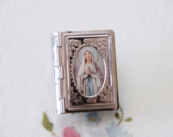 Book-Shaped Two-Tone Silver & Gold Metal Rosary Case / Box with Virgin Mary Our Lady of Lourdes Picture on Lid