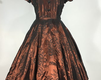 Vintage 1950's 50s Shiny metallic Copper full circle skirt floral Taffeta Evening Party dress