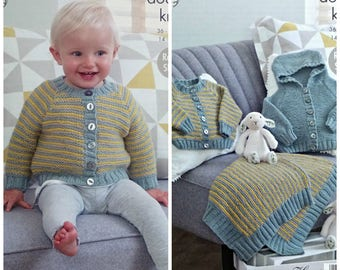 47611e6e5d054 Baby Knitting Pattern K4967 Baby s Striped Cardigan Striped Blanket and Hooded  Jacket (Hoodie) Knitting