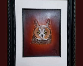 Owl Portrait in Leather