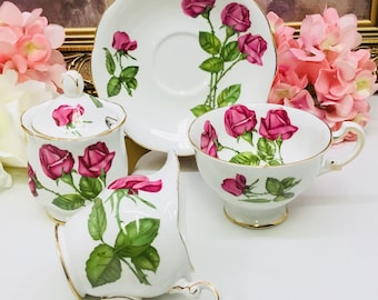 "Royal Standard ""Three Red Roses"" teacup, saucer with creamer and sugar bowl."