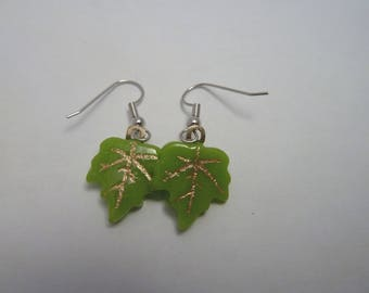 Hypo-Allergenic Spring Green Maple Leaf Cast Glass with Gold Mica Drop Earrings with Surgical Steel Ear Wires