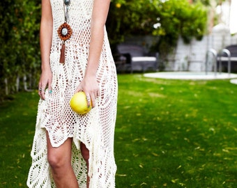 Crochet dress PATTERN, detailed tutorial in ENGLISH (every row) designer crochet dress PDF, beach wedding crochet boho dress with pineapples
