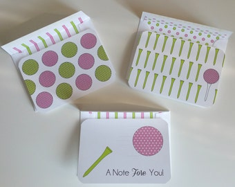 Set of 12 Golf Gift Thank You Cards Custom Stationery Set Personalized Cards Pink Green Cards Note Card Set Women's Golf Thank You Notes