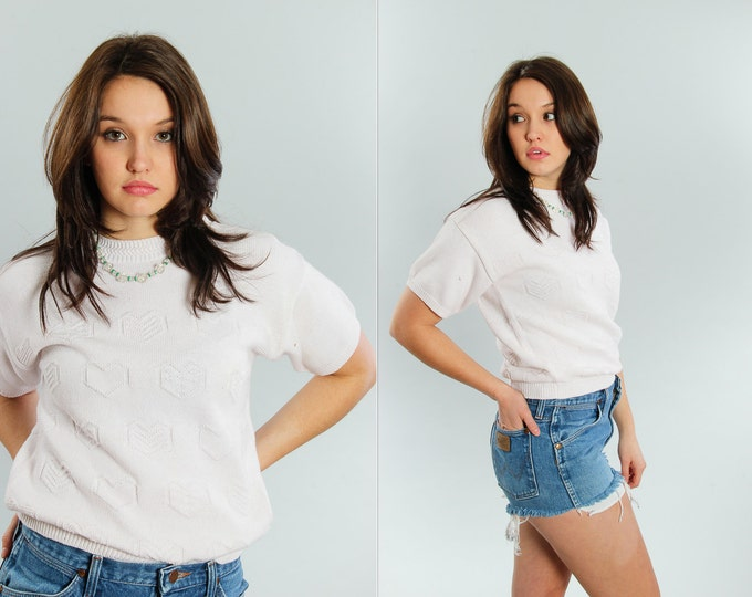 Small Vintage White Short Sleeve Sweater | 5CC
