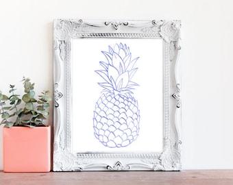 Pineapple Nursery Art, Watercolor Pineapple, Nursery Prints, Purple Pineapple, Baby Gift, Baby Shower, Nursery Decor, Tropical Art (1014e)