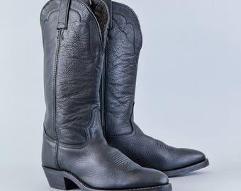 Vintage Tony Lama Black Leather Cowboy Boots Mexico Men's UK 7 EU 41 US 8