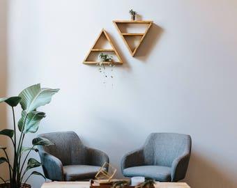 Floating Triangle Shelf Shelves Wood Wooden with Divider Oak Walnut Home Organization Decor