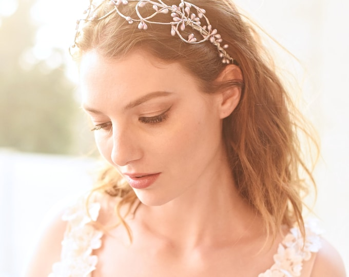 Silver Bridal Headpiece, Silver Woodland Crown, Wedding Headband, Rustic Silver Head Piece, Gold Hair Crown, Style 312