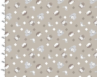 Little Forest - Animals in Diamonds 2891 Taupe Cotton Quilting Fabric by Half Yard - Quilt Bundle and Pattern in Bundle Section  - FWM