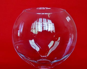 Flat GLASS BUBBLE VASE Clear with Narrow Opening & Small Base Vintage Glass Vase