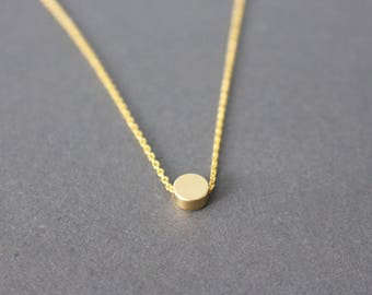 Gold dot necklace, tiny gold dot necklace, gold disc necklace, gold dot necklace - minimal