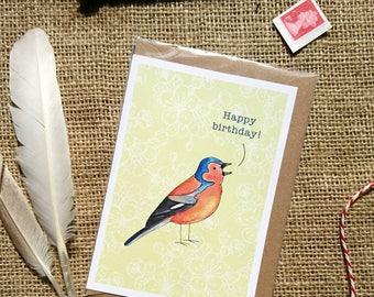 Chaffinch bird happy birthday card. Cerdyn penblwdd hapus aderyn jibink