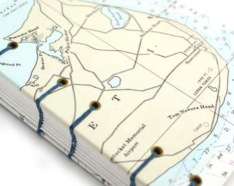 Map Journal - Unlined Journal - Siasconset Nantucket Journal - made from Nautical Charts by Ruth Bleakley - 160 pages