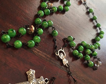 Custom Made Glass Bead Rosary