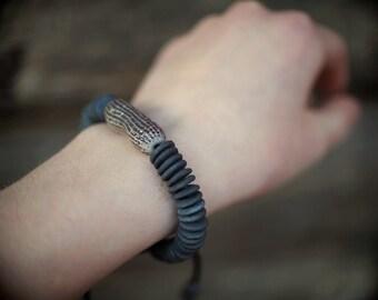 Artisan ceramic bracelet with handcrafted smokfired beads