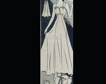 Vintage 40s Dainty Lacy Negligee Nightgown Gown Bed Jacket Lingerie Sewing Pattern 8838 B30