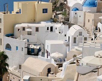 Oia Santorini Photography - Greece Photo - Greek Islands Photograph White Churches Blue Domes Greek Architecture Mediterranean Decor
