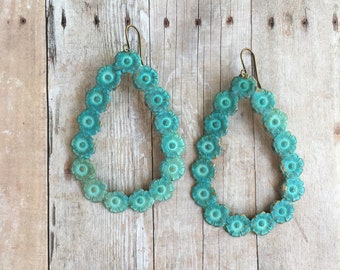 Large Verdigris Flower Earrings Patina Jewelry Bohemian