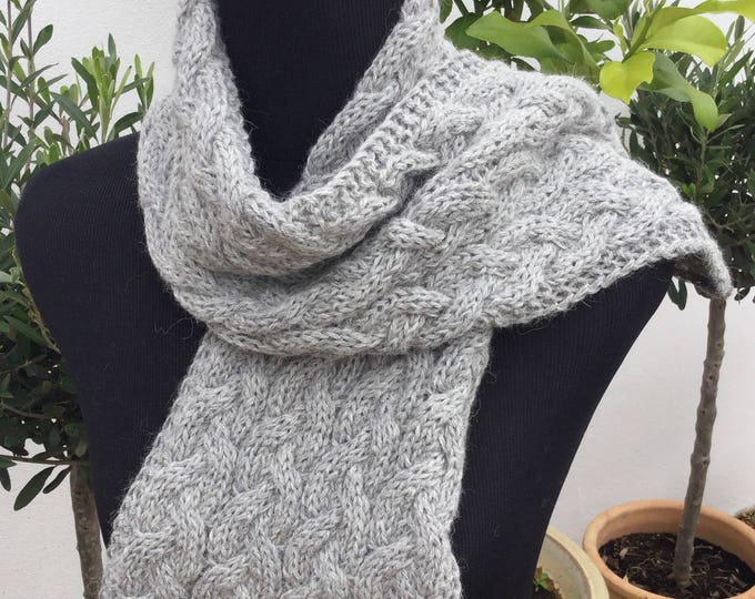 Pure alpaca cable scarf, cable scarf, alpaca scarf, dark grey scarf by Willow Luxury