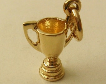 Genuine SOLID 9ct YELLOW GOLD 3D Cup Trophy winners charm/pendant