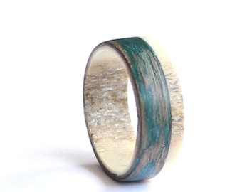 Deer Antler Men Ring, Teal Wood  Wedding band, Unisex Ring, Teal Ring