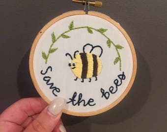 Save the Bees Embroidery Art