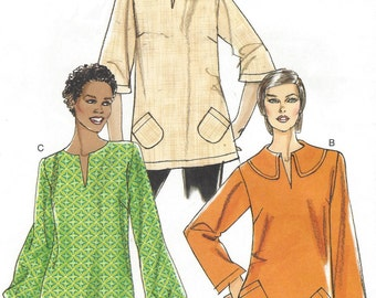 Womens Pullover Tunic with Sleeve & Collar Variations OOP Vogue Sewing Pattern V8595 Size 6 8 10 12 Bust 30 1/2 to 34 UnCut Very Easy Vogue