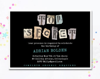 Top Secret Invite, Top Secret Party Invitation, Secret Invitation, Printable Invitation, Surprise Party, Surprise Invitation. Motif Visual