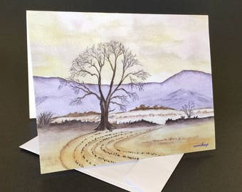 Purple Mountains Card.  Watercolor print note card with envelope.