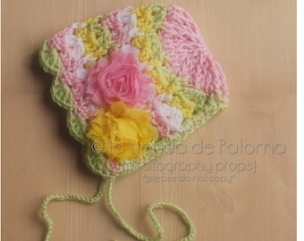 INSTANT DOWNLOAD - Primavera Bonnet Crochet Pattern - Crochet Baby Bonnet  Pattern - Baby hat crochet pattern