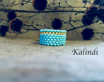 Boho ring Wide beaded ring wide seed bead ring Beadwoven ring Wide band ring turquoise gold ring  Woven bead ring Handmade ring Beadwork